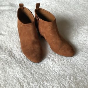 Booties, camel colored suede by Forever 21